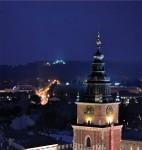 Widok z wieży mariackiej nocą - fot. Albin Marciniak